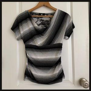 iZ Byer short sleeve top black/white cowl neck XS